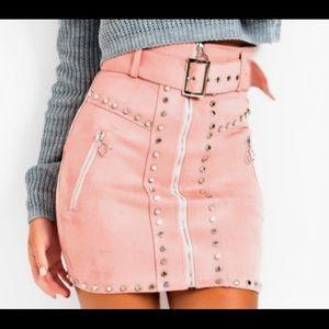 Zip up studded skirt